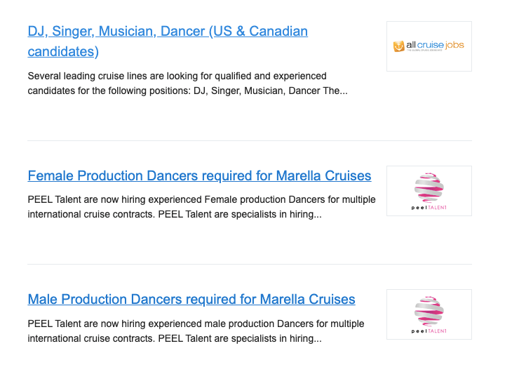 Dancers on cruise lines.