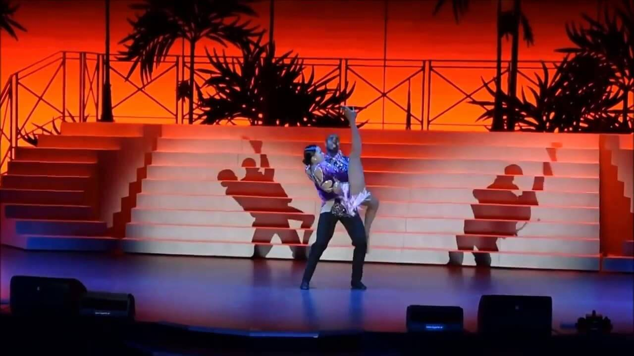 An example of the performance of dancers on a cruise ship.
